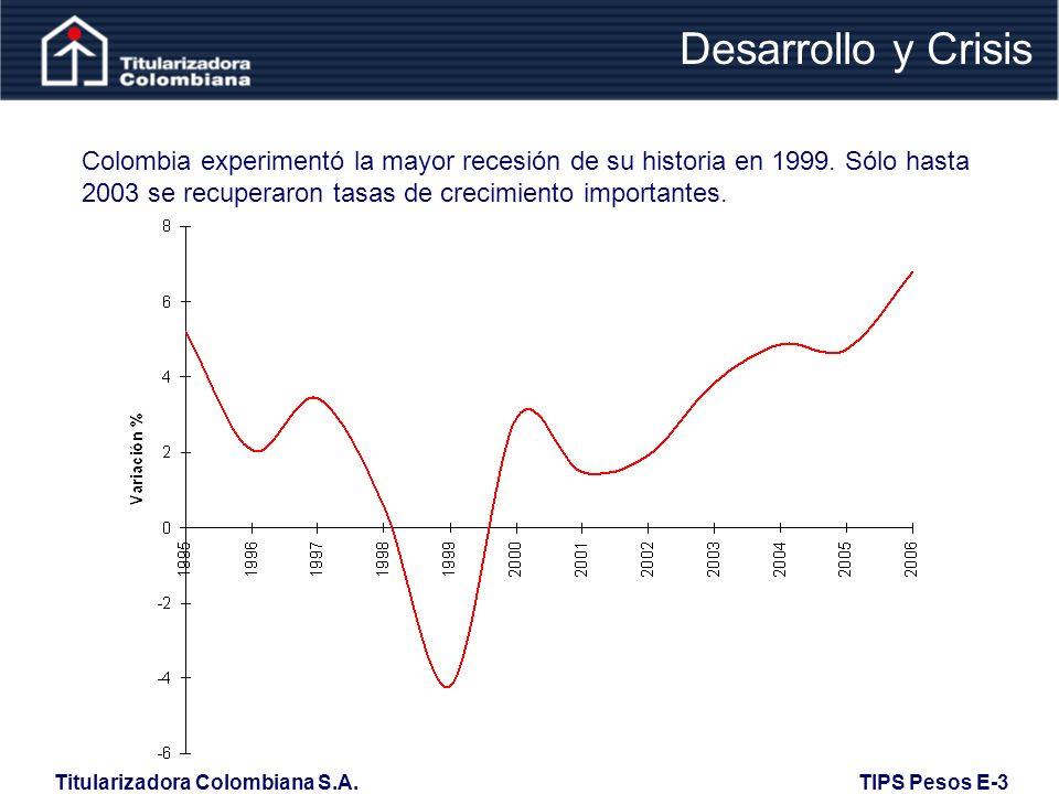 Desarrollo y Crisis Colombia experimentó la mayor recesión de su historia en 1999.