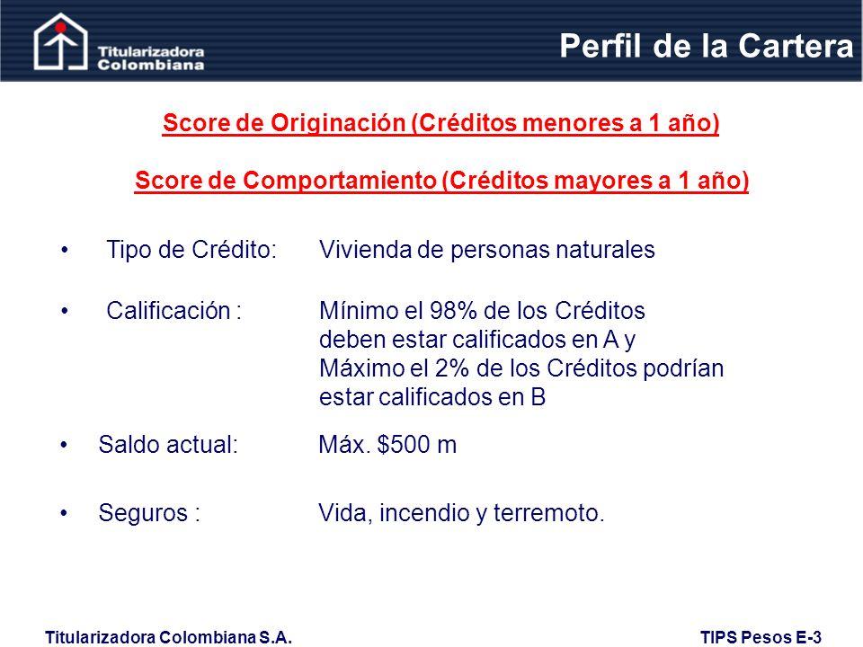 Perfil de la Cartera Score de Originación (Créditos menores a 1 año)