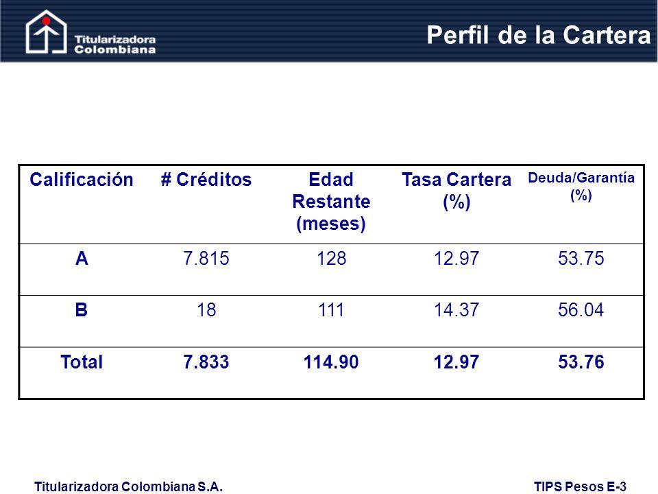 Perfil de la Cartera Calificación # Créditos Edad Restante (meses)