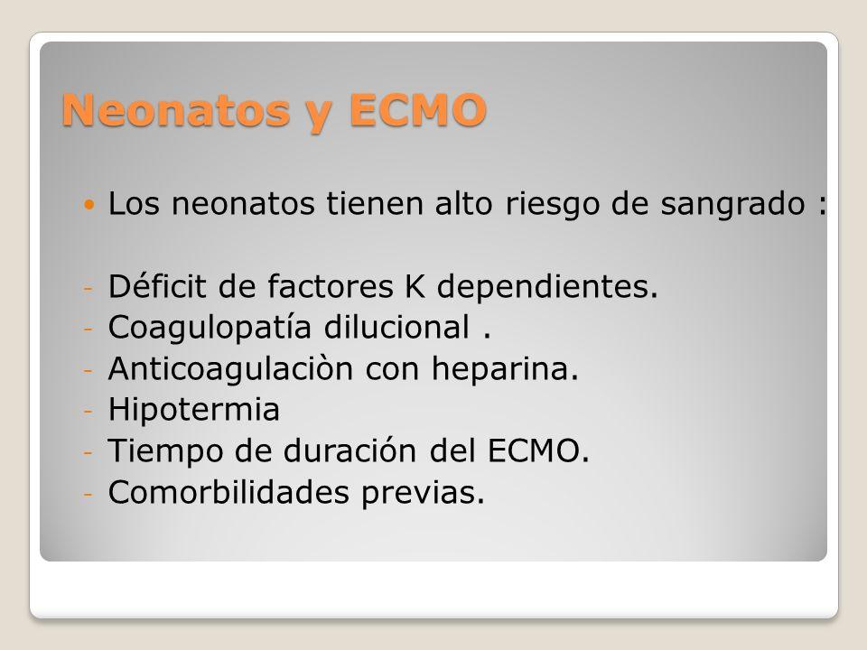 Neonatos y ECMO Los neonatos tienen alto riesgo de sangrado :