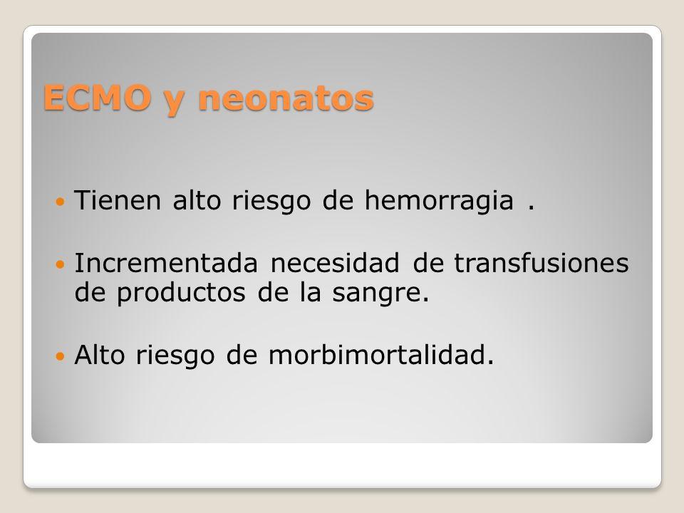 ECMO y neonatos Tienen alto riesgo de hemorragia .