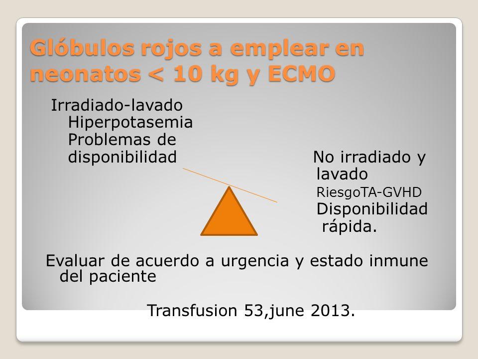 Glóbulos rojos a emplear en neonatos < 10 kg y ECMO