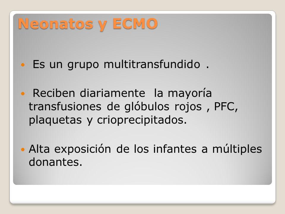 Neonatos y ECMO Es un grupo multitransfundido .