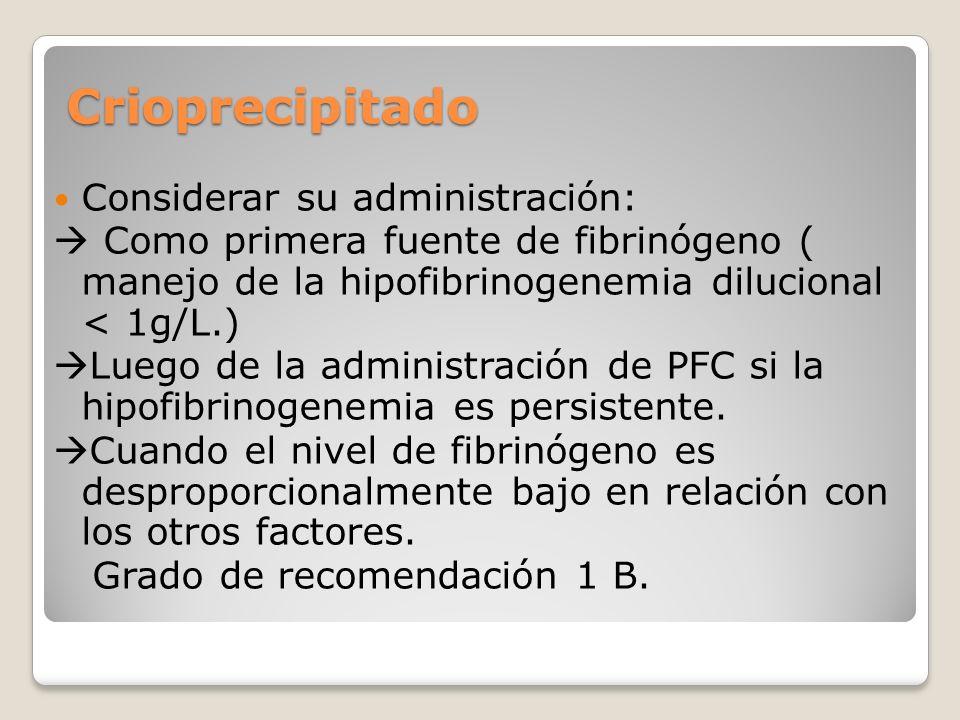 Crioprecipitado Considerar su administración: