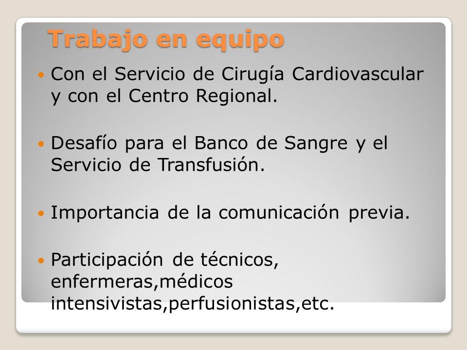 Trabajo en equipo Con el Servicio de Cirugía Cardiovascular y con el Centro Regional.