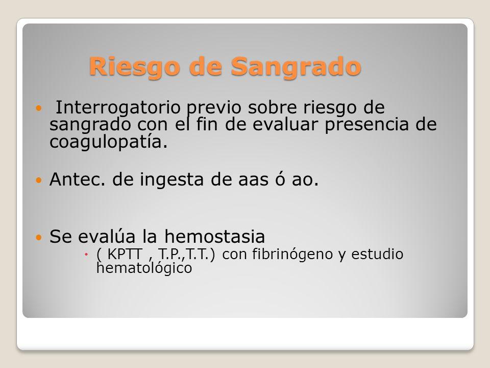 Riesgo de Sangrado Interrogatorio previo sobre riesgo de sangrado con el fin de evaluar presencia de coagulopatía.