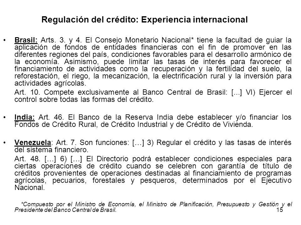 Regulación del crédito: Experiencia internacional