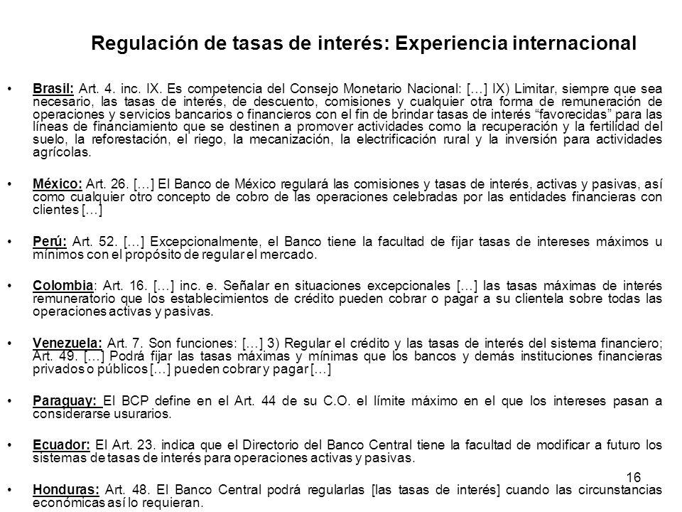 Regulación de tasas de interés: Experiencia internacional