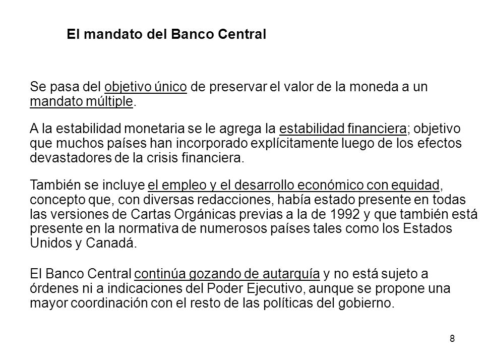 El mandato del Banco Central