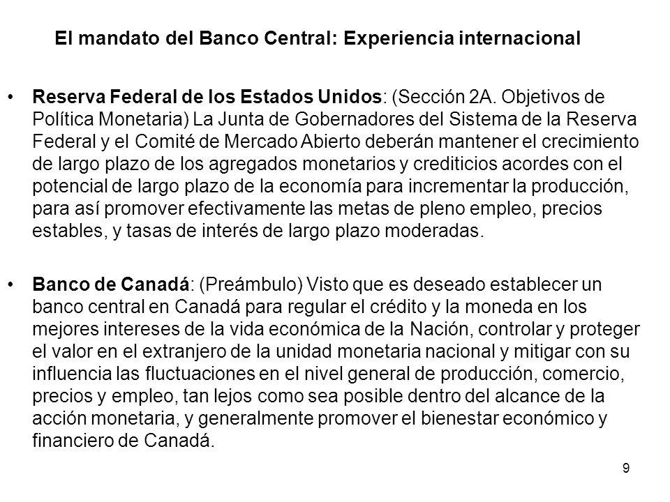 El mandato del Banco Central: Experiencia internacional