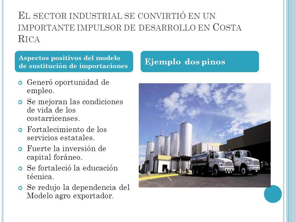 El sector industrial se convirtió en un importante impulsor de desarrollo en Costa Rica