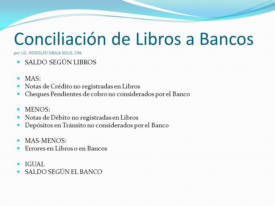 Conciliación de Libros a Bancos por LIC. RODOLFO SIBAJA SOLIS, CPA