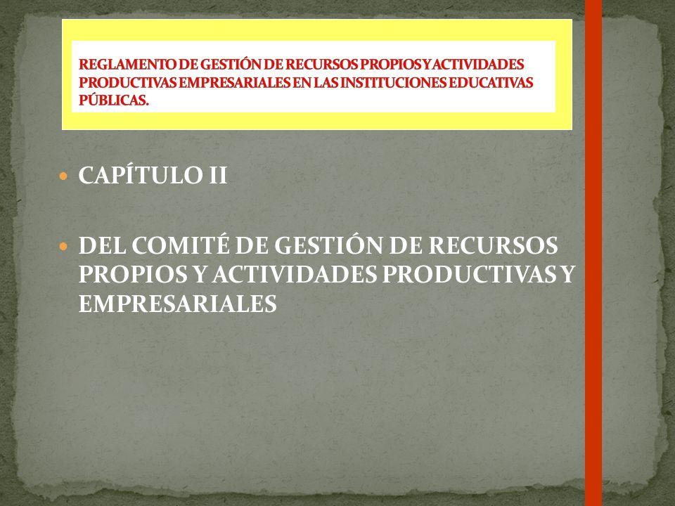 REGLAMENTO DE GESTIÓN DE RECURSOS PROPIOS Y ACTIVIDADES PRODUCTIVAS EMPRESARIALES EN LAS INSTITUCIONES EDUCATIVAS PÚBLICAS.