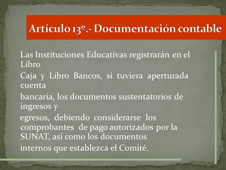 Artículo 13º.- Documentación contable