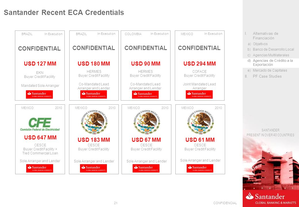 Santander Recent ECA Credentials