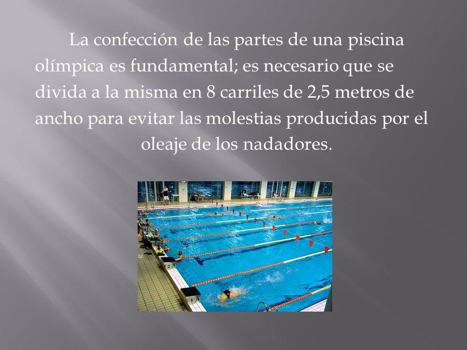 La confección de las partes de una piscina olímpica es fundamental; es necesario que se divida a la misma en 8 carriles de 2,5 metros de ancho para evitar las molestias producidas por el oleaje de los nadadores.