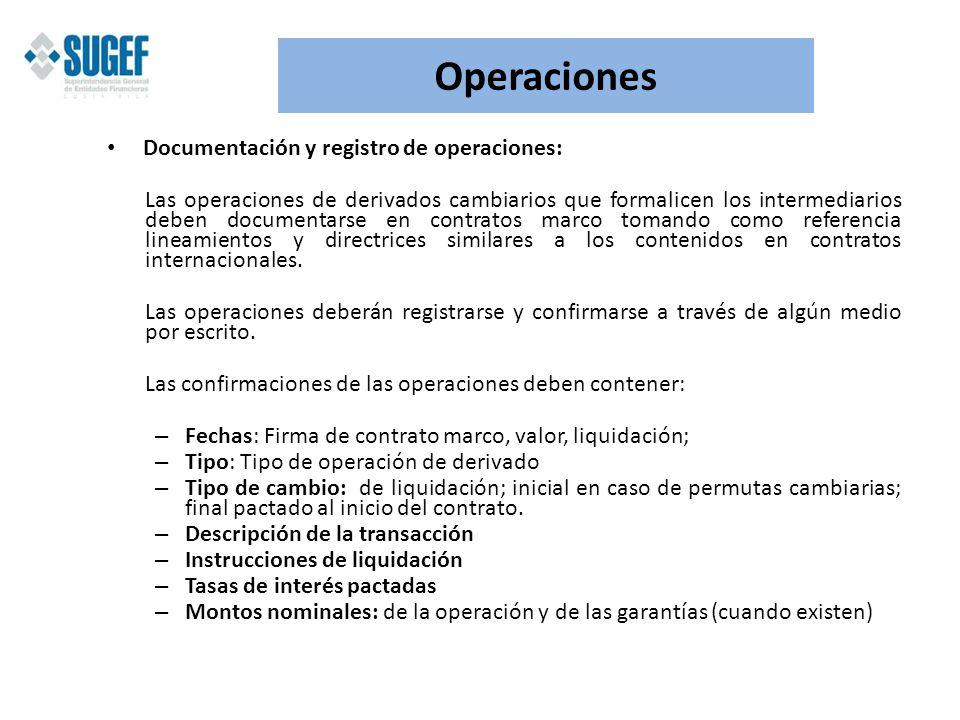 Operaciones Documentación y registro de operaciones: