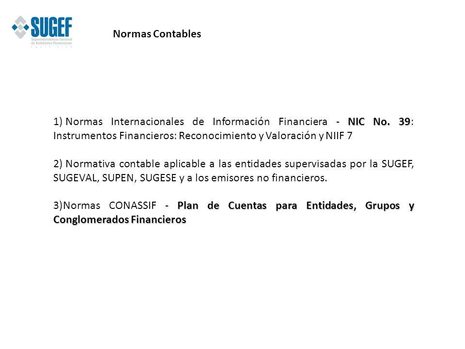 Normas Contables Normas Internacionales de Información Financiera - NIC No. 39: Instrumentos Financieros: Reconocimiento y Valoración y NIIF 7.