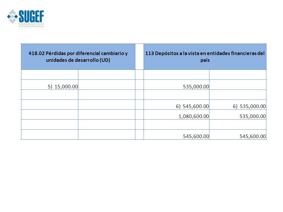 113 Depósitos a la vista en entidades financieras del país
