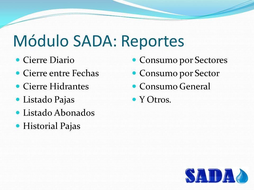 Módulo SADA: Reportes Cierre Diario Cierre entre Fechas