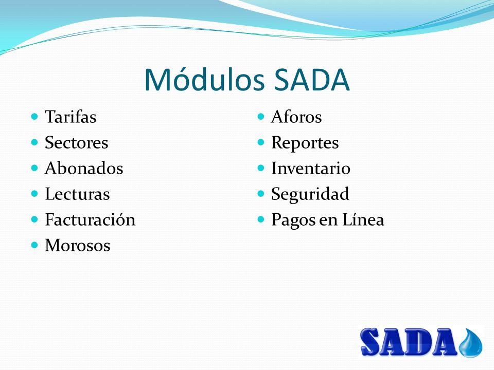 Módulos SADA Tarifas Sectores Abonados Lecturas Facturación Morosos