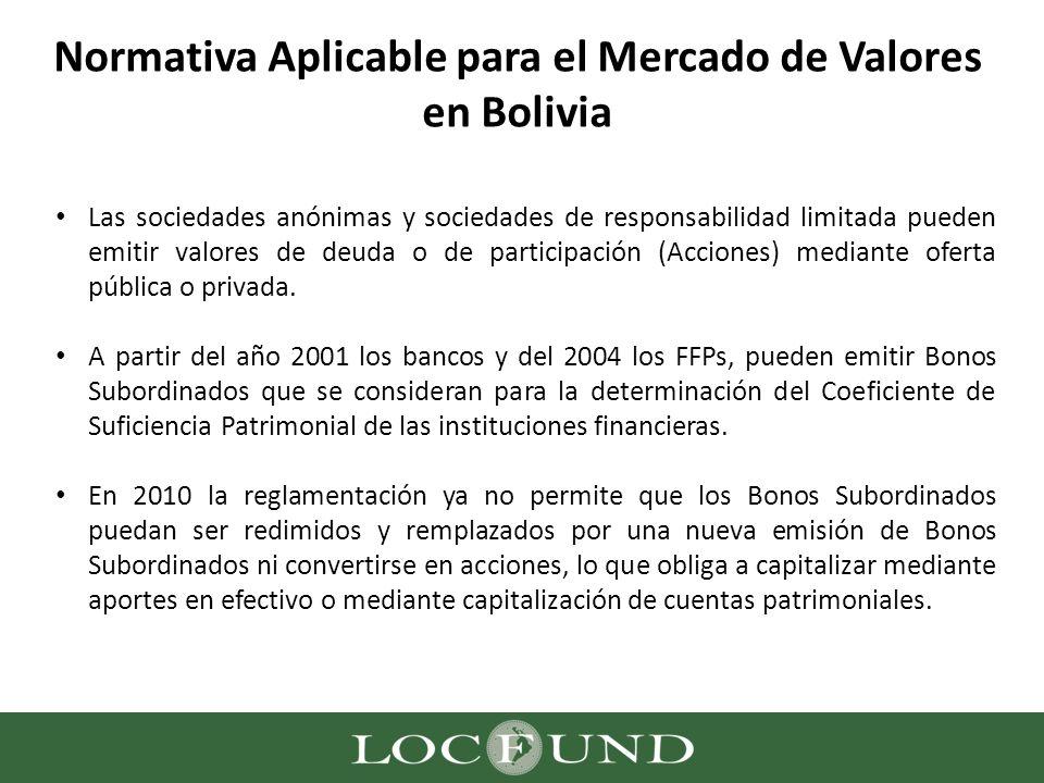 Normativa Aplicable para el Mercado de Valores en Bolivia