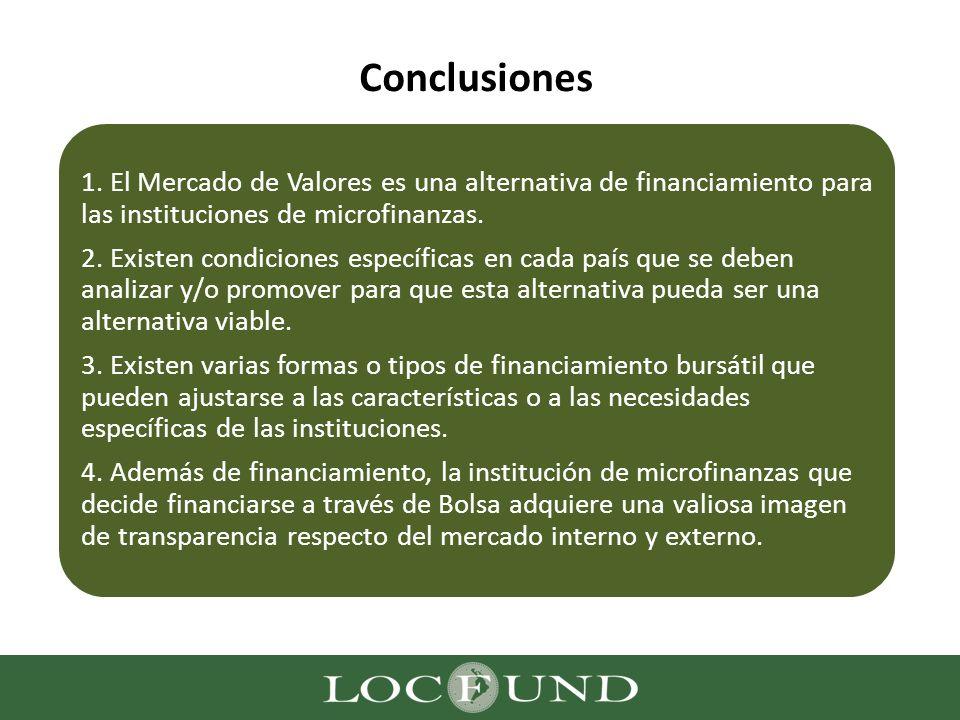 Conclusiones 1. El Mercado de Valores es una alternativa de financiamiento para las instituciones de microfinanzas.
