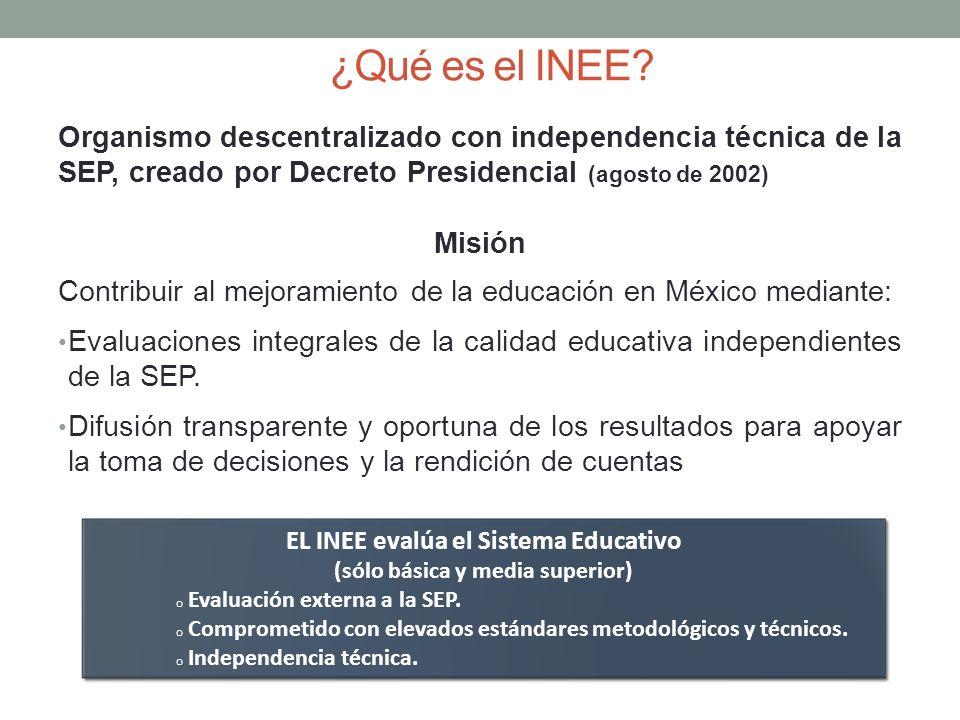 EL INEE evalúa el Sistema Educativo (sólo básica y media superior)