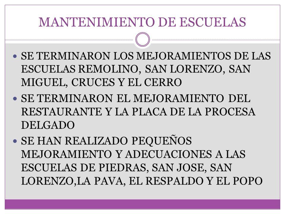 MANTENIMIENTO DE ESCUELAS
