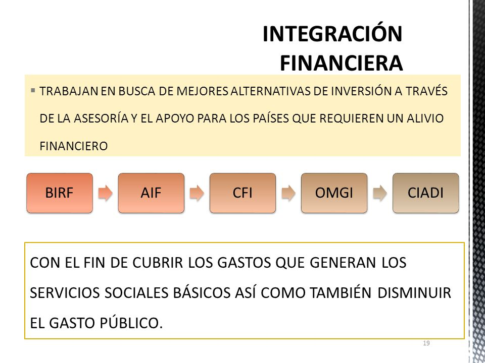 INTEGRACIÓN FINANCIERA