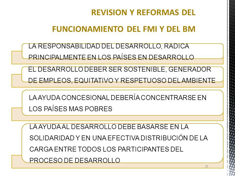 REVISION Y REFORMAS DEL FUNCIONAMIENTO DEL FMI Y DEL BM