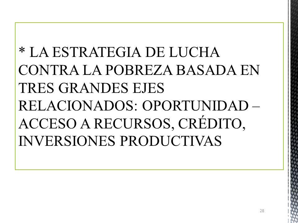 * LA ESTRATEGIA DE LUCHA CONTRA LA POBREZA BASADA EN TRES GRANDES EJES RELACIONADOS: OPORTUNIDAD – ACCESO A RECURSOS, CRÉDITO, INVERSIONES PRODUCTIVAS