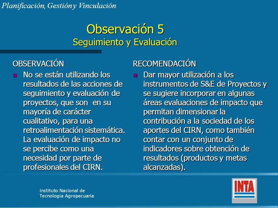 Observación 5 Seguimiento y Evaluación