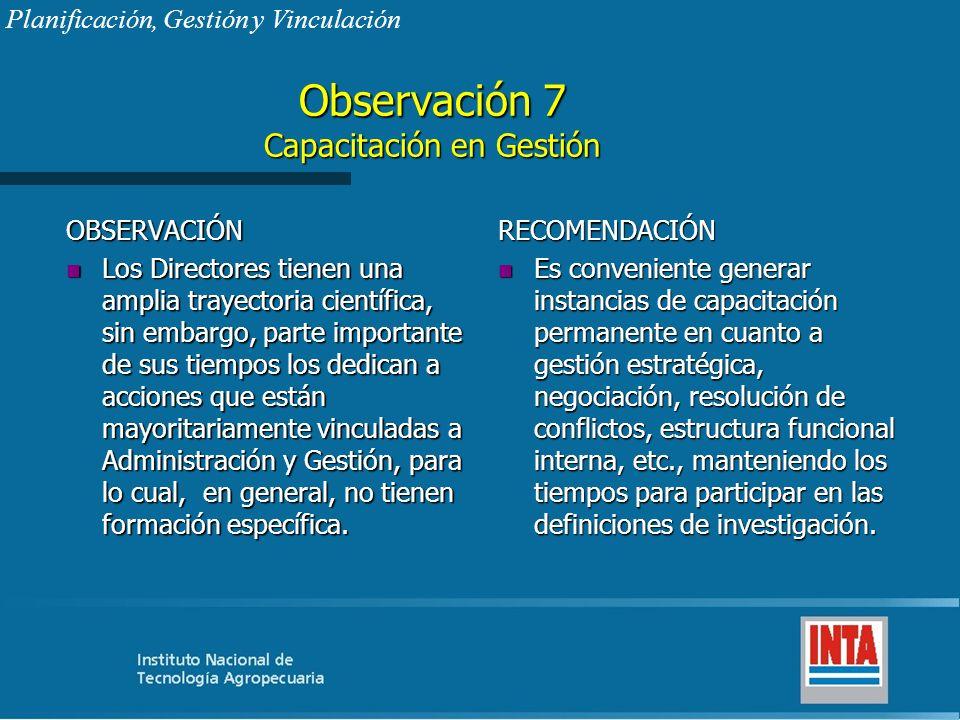 Observación 7 Capacitación en Gestión