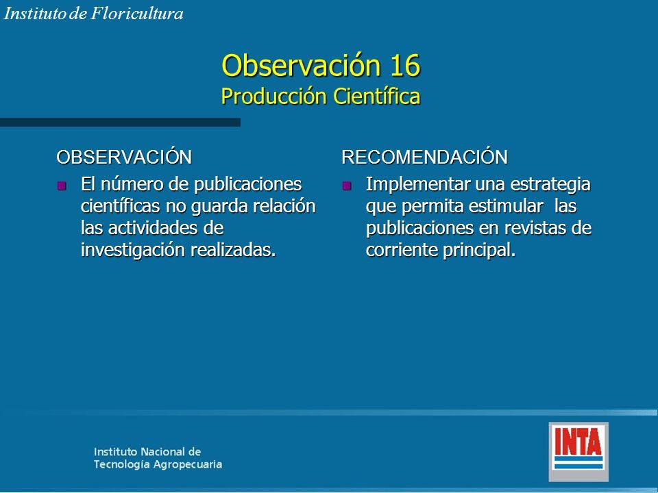 Observación 16 Producción Científica