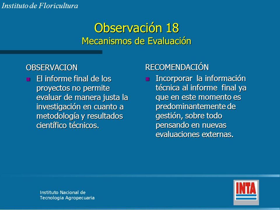 Observación 18 Mecanismos de Evaluación
