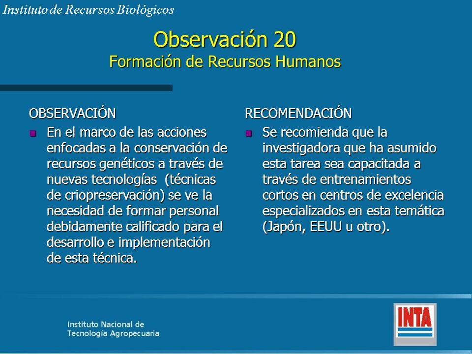 Observación 20 Formación de Recursos Humanos