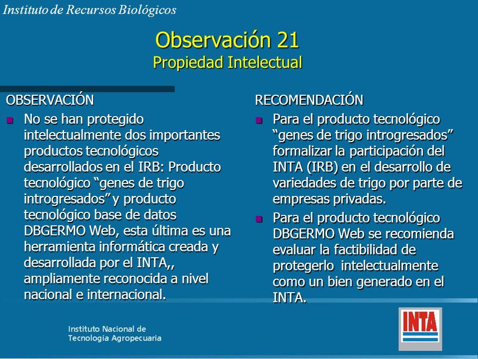 Observación 21 Propiedad Intelectual