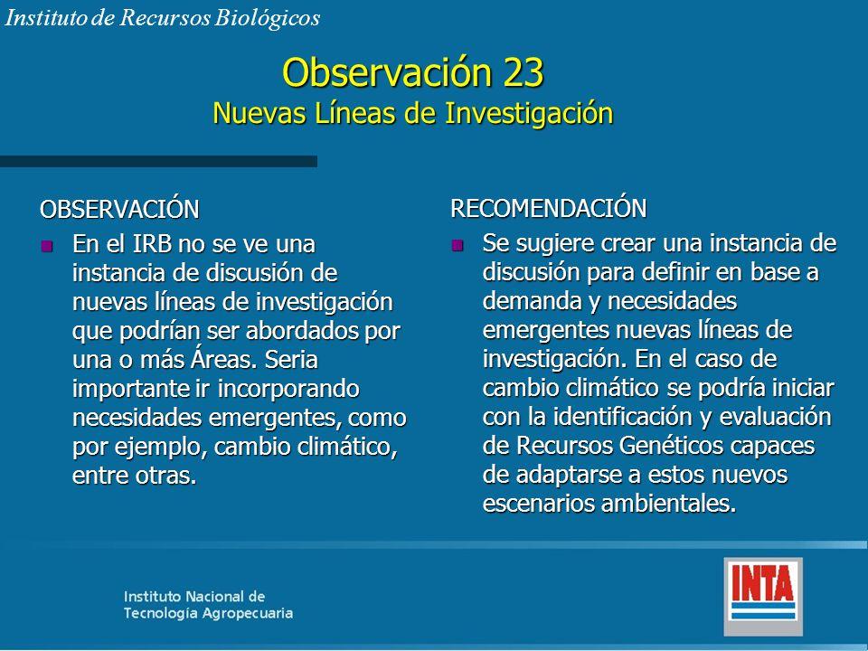 Observación 23 Nuevas Líneas de Investigación