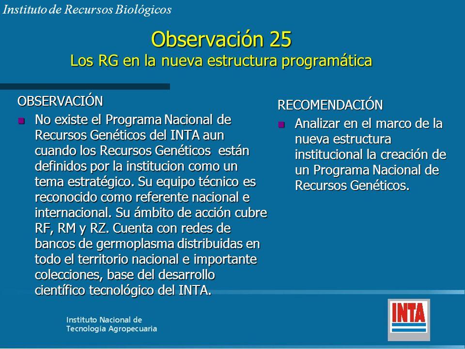 Observación 25 Los RG en la nueva estructura programática