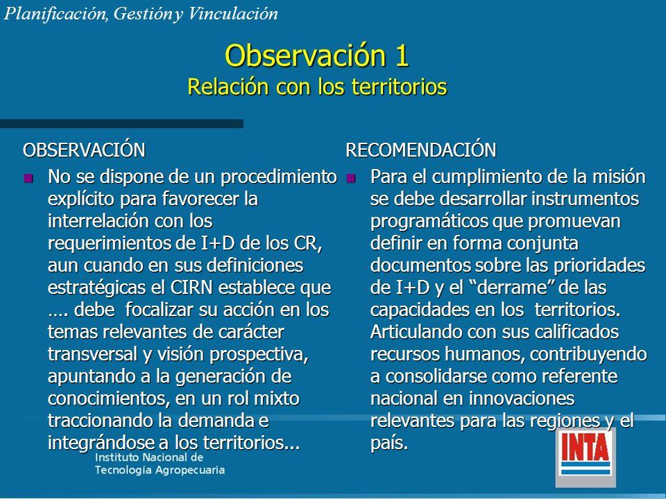 Observación 1 Relación con los territorios