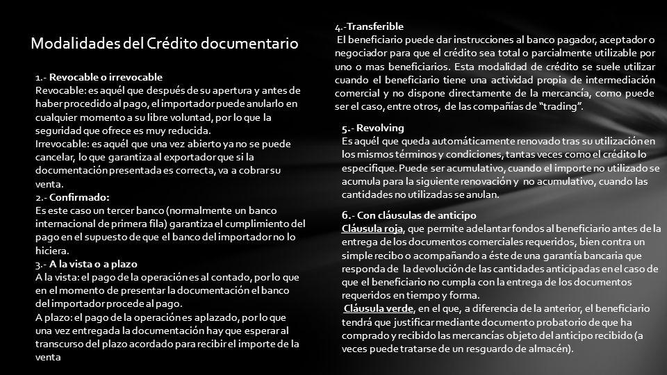 Modalidades del Crédito documentario