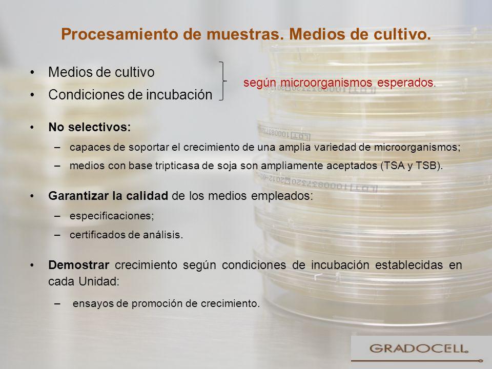 Procesamiento de muestras. Medios de cultivo.