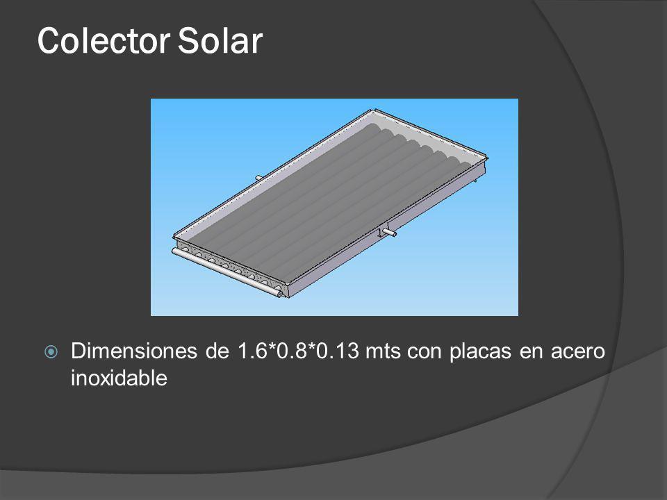 Colector Solar Dimensiones de 1.6*0.8*0.13 mts con placas en acero inoxidable