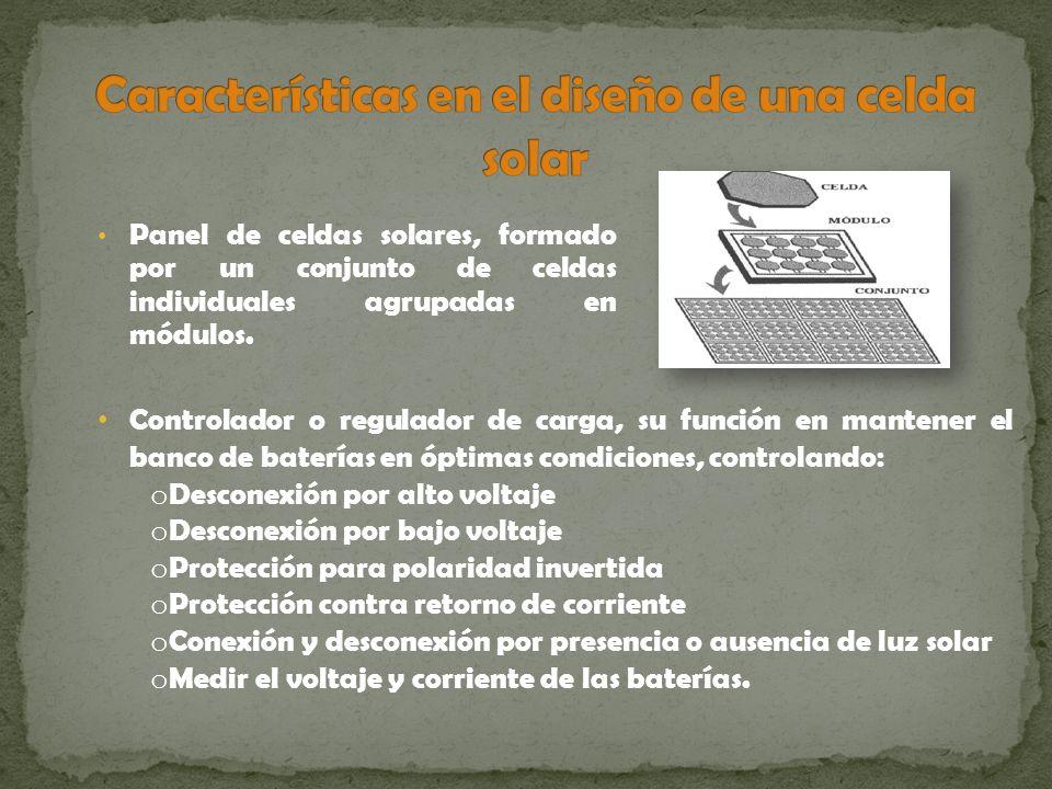 Características en el diseño de una celda solar