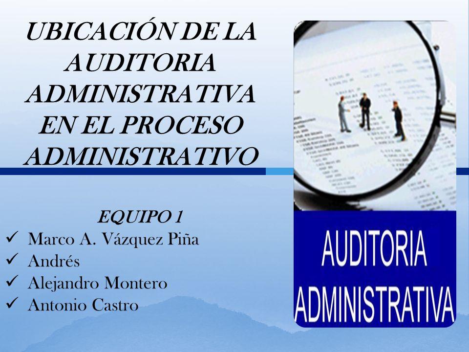 UBICACIÓN DE LA AUDITORIA ADMINISTRATIVA EN EL PROCESO ADMINISTRATIVO