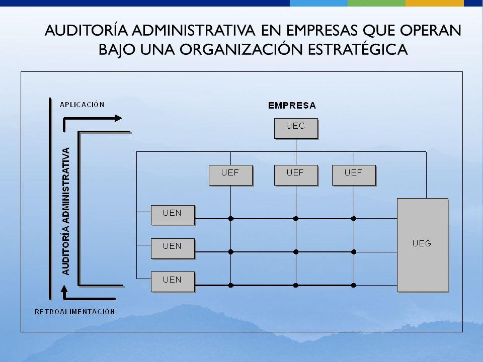 AUDITORÍA ADMINISTRATIVA EN EMPRESAS QUE OPERAN BAJO UNA ORGANIZACIÓN ESTRATÉGICA