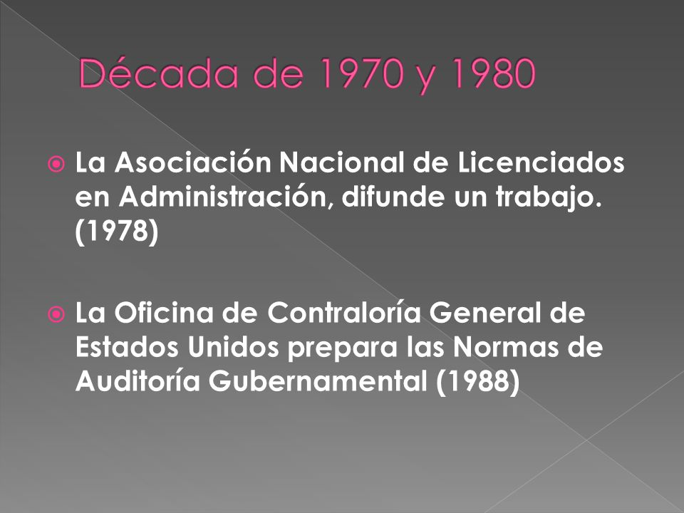 Década de 1970 y 1980 La Asociación Nacional de Licenciados en Administración, difunde un trabajo. (1978)