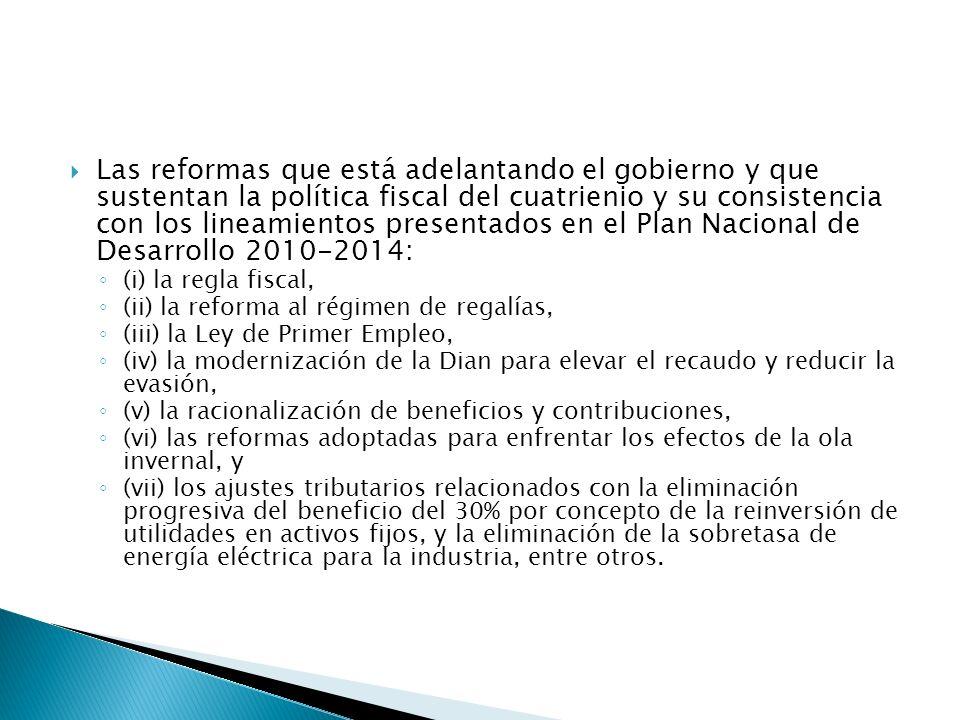 Las reformas que está adelantando el gobierno y que sustentan la política fiscal del cuatrienio y su consistencia con los lineamientos presentados en el Plan Nacional de Desarrollo 2010-2014: