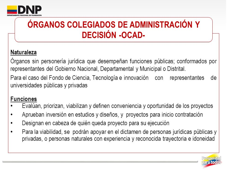 ÓRGANOS COLEGIADOS DE ADMINISTRACIÓN Y DECISIÓN -OCAD-